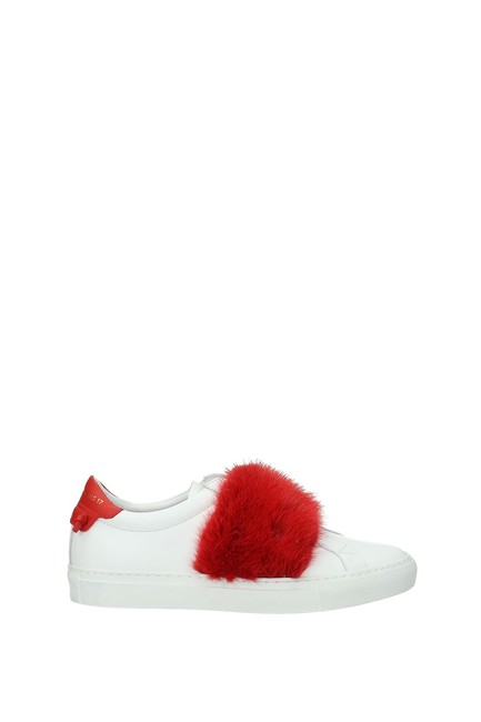 Item - White Women Leather Red Sneakers Size EU 37.5 (Approx. US 7.5) Regular (M, B)