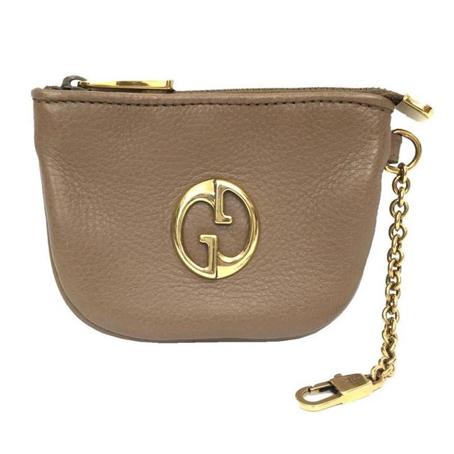 Item - Light Brown Coin Case with Key Ring 252042 Purse Leather Wallet