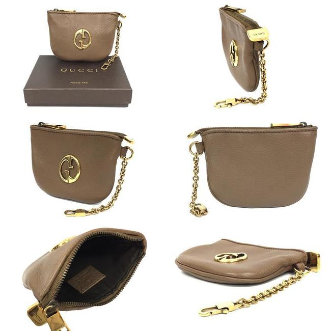 Gucci Light Brown Coin Case with Key Ring 252042 Purse Leather Wallet Gucci Light Brown Coin Case with Key Ring 252042 Purse Leather Wallet Image 2