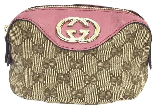 Item - Cosmetic Pouch 308630 Makeup X Beige / Pink Gg Canvas Clutch