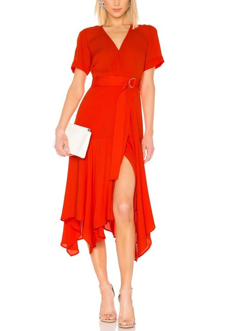 Item - Red L New Claire Belted Silk Wrap Mid-length Casual Maxi Dress Size 4 (S)