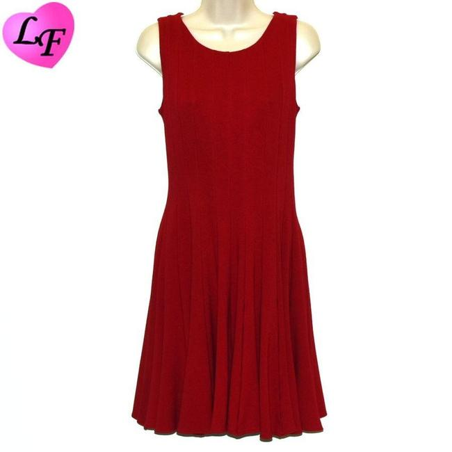 Item - Red Jersey Sleeveless Pleated Construction Knit Short Casual Dress Size 4 (S)