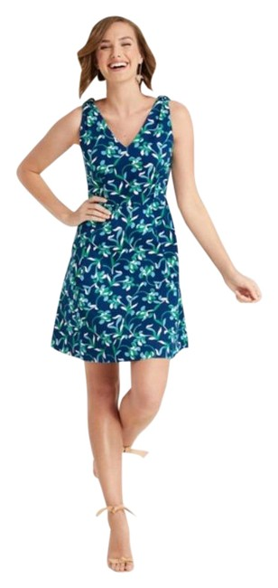Item - Blue White Floral Knot Love Circle In Graceland Multi Flo Short Casual Dress Size 6 (S)
