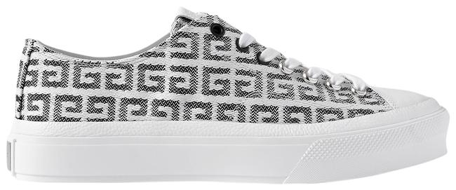 Item - White City 4g Leather-trimmed Logo-jacquard Sneakers Size EU 38 (Approx. US 8) Regular (M, B)