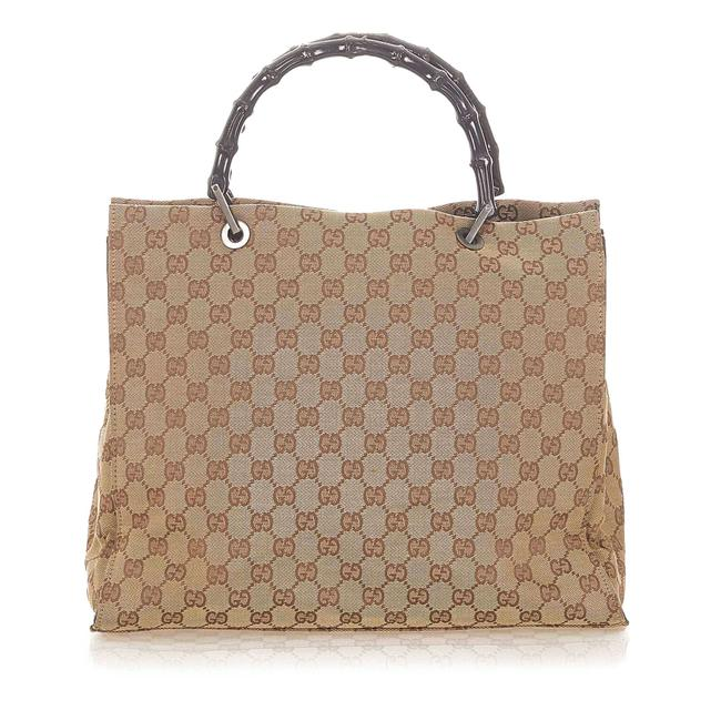 Item - Bag Bamboo Gg Brown Canvas Tote