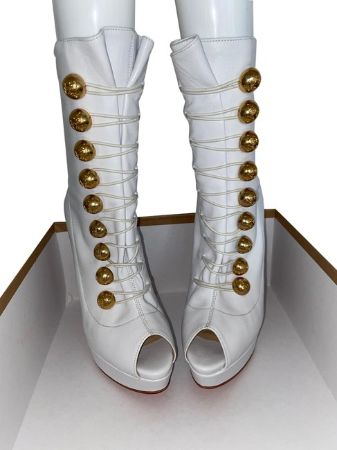 Item - White with Gold Buttons Alta Bouton 150 Nappa/Marine #3100629 #3607412332599 Boots/Booties Size EU 38 (Approx. US 8) Regular (M, B)
