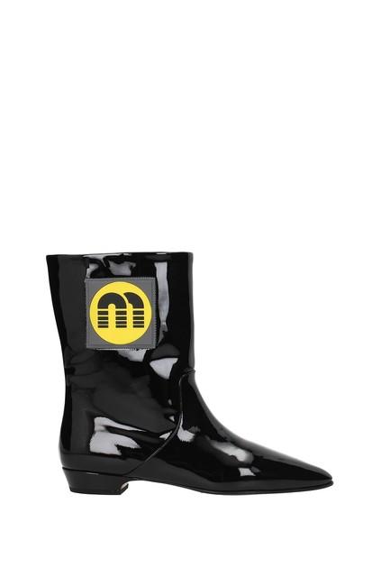 Item - Black Ankle Women Patent Leather Boots/Booties Size EU 36.5 (Approx. US 6.5) Regular (M, B)