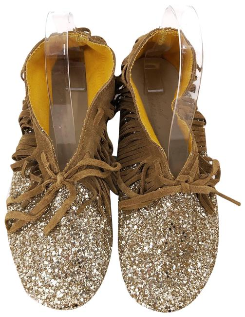 Item - Gold Italy Ankle Boot Moccasin Brown Leather Fringe Eu38 Flats Size US 7.5 Regular (M, B)