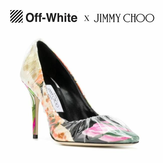 Item - Pink Off-white X Pvc Wrapped Floral Anne 100mm Pump Sandals Size US 10 Regular (M, B)