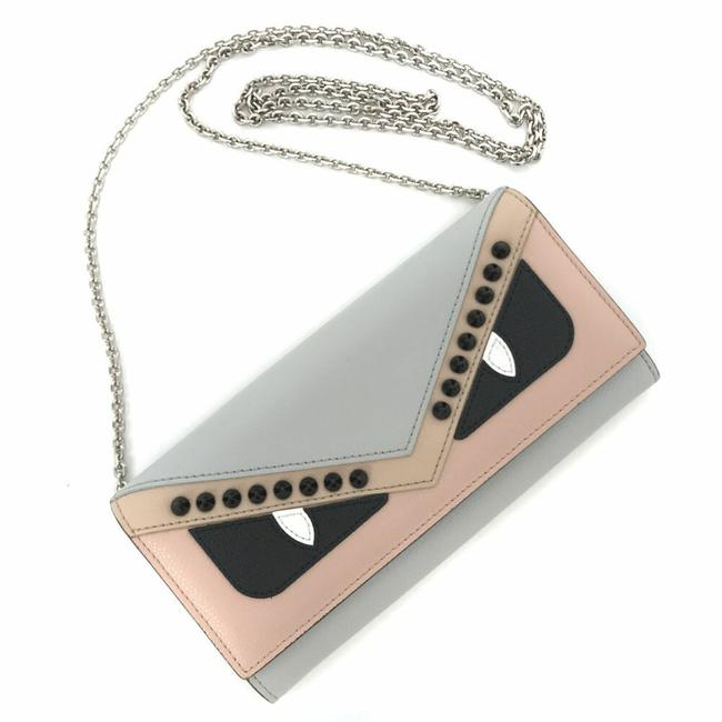 Item - Gray / Pink Purse Bugs Spike Studs 8m0365 Chain Leather Ladies Wallet