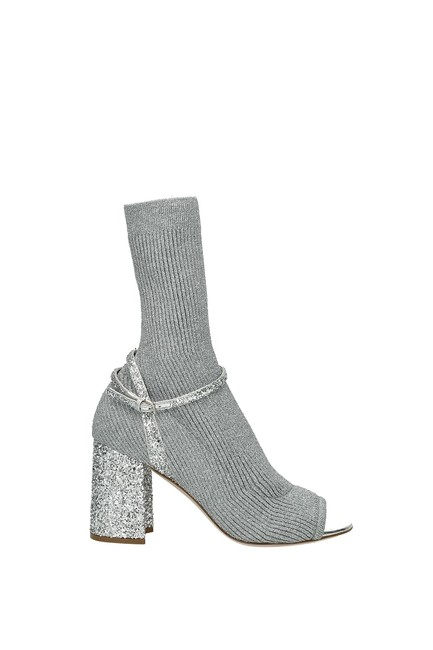 Item - Silver Ankle Women Fabric Boots/Booties Size EU 36 (Approx. US 6) Regular (M, B)