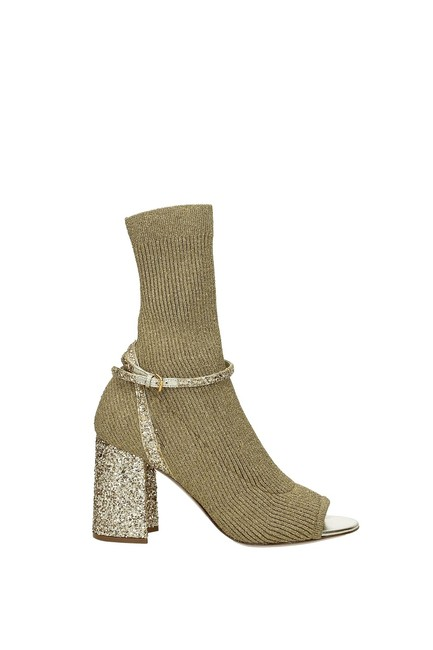 Item - Gold Ankle Women Fabric Boots/Booties Size EU 37 (Approx. US 7) Regular (M, B)