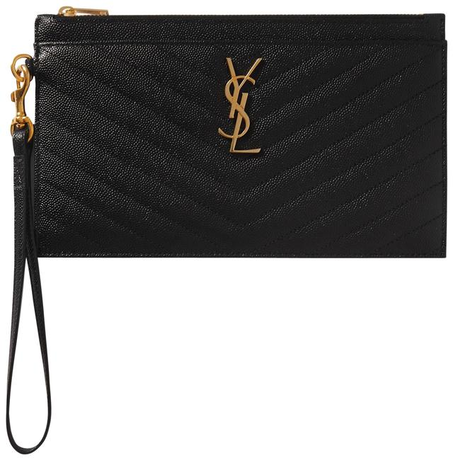Item - Université Monogram Quilted Textured-leather Pouch Black Leather Clutch