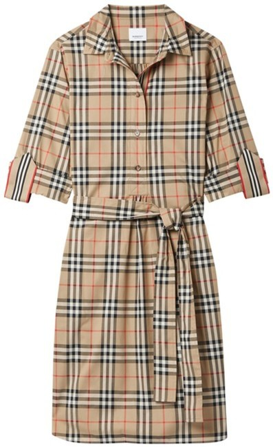 Item - Brown Belted Checked Cotton-blend Poplin Mini Short Casual Dress Size 14 (L)
