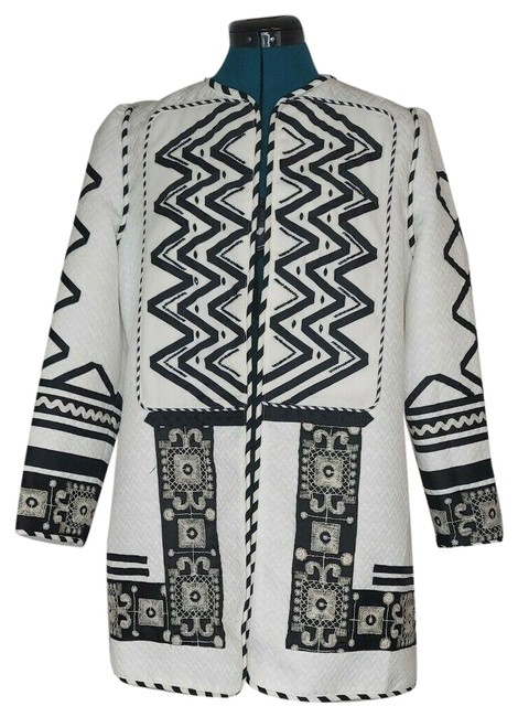 Item - Black White Womens and Embroidered Beaded Midi Jacket Size 8 (M)