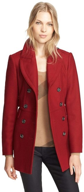 Burberry Red Wool Cashmere Double-breasted Peacoat Jacket Coat Size 8 (M) Burberry Red Wool Cashmere Double-breasted Peacoat Jacket Coat Size 8 (M) Image 1