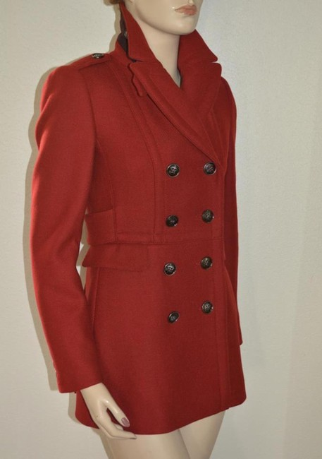 Burberry Red Wool Cashmere Double-breasted Peacoat Jacket Coat Size 8 (M) Burberry Red Wool Cashmere Double-breasted Peacoat Jacket Coat Size 8 (M) Image 4