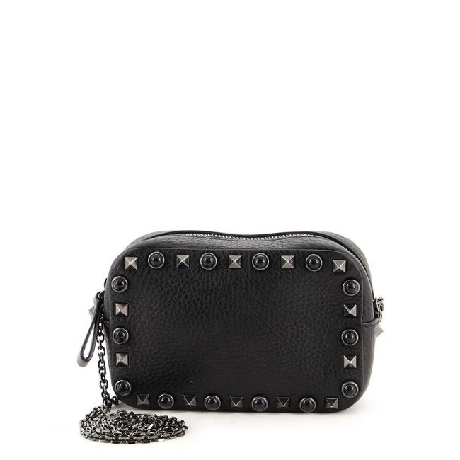 Item - Rolling Rockstud Chain Camera with Cabochons Sma Black Leather Cross Body Bag