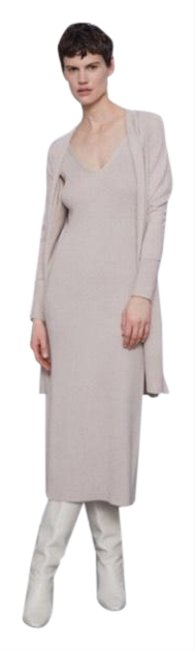 Item - Cream/ Beige Cardigan and Ribbed Set Mid-length Casual Maxi Dress Size 12 (L)
