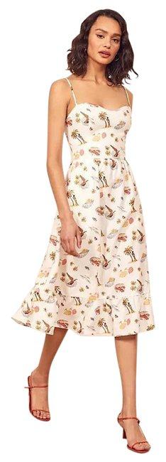 Item - White Eileen In Tropez Print Mid-length Night Out Dress Size 12 (L)