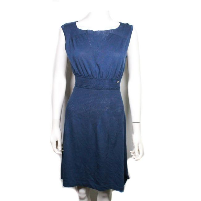 Item - Blue Sleeveless Fit and Cutout Cc Logo Us Mid-length Short Casual Dress Size 8 (M)