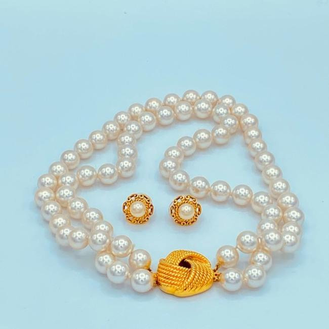 Unbranded White/Gold Vintage Faux Pearl Choker Necklace Jewelry Set Unbranded White/Gold Vintage Faux Pearl Choker Necklace Jewelry Set Image 2