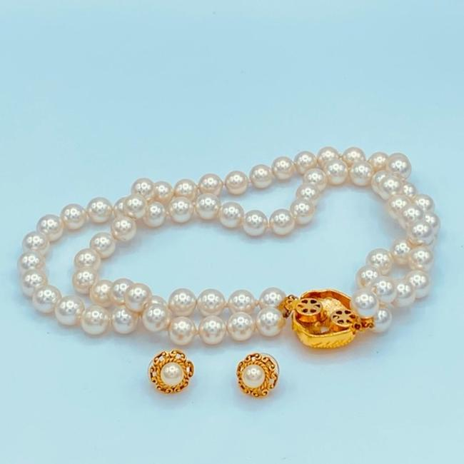 Unbranded White/Gold Vintage Faux Pearl Choker Necklace Jewelry Set Unbranded White/Gold Vintage Faux Pearl Choker Necklace Jewelry Set Image 4
