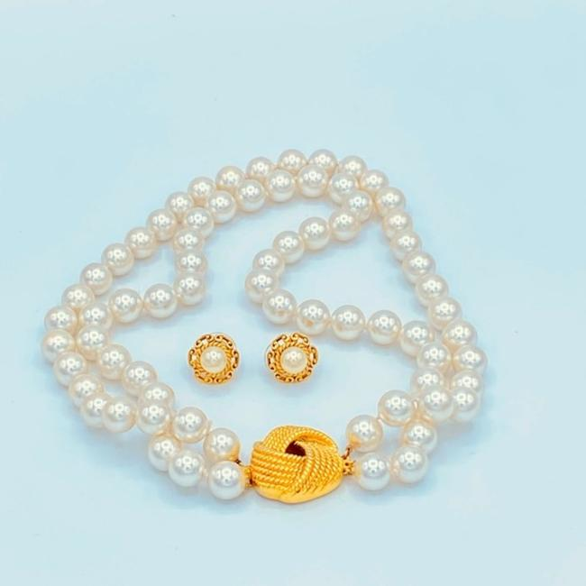 Unbranded White/Gold Vintage Faux Pearl Choker Necklace Jewelry Set Unbranded White/Gold Vintage Faux Pearl Choker Necklace Jewelry Set Image 8