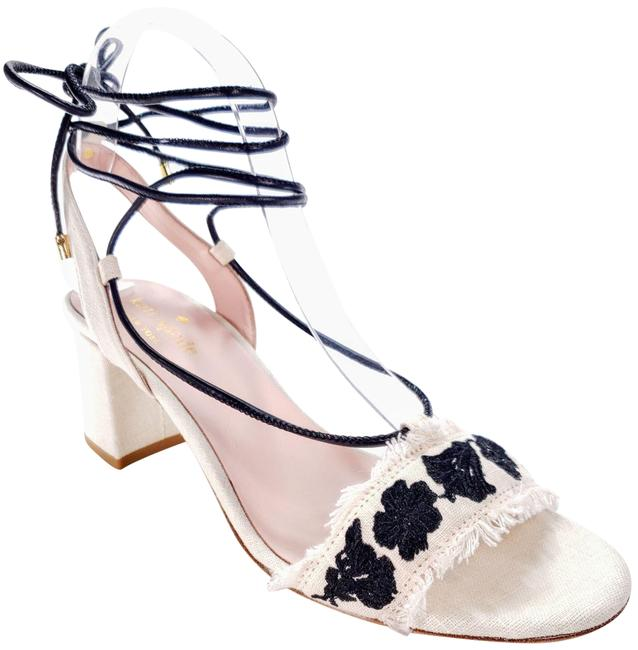 Item - White and Black Wes Embroidered Linen Sandals Size US 7.5 Regular (M, B)