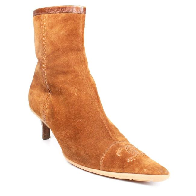 Item - Tan / Brown Cc Suede Heels Woven Point Toe Cap Toe Ankle Boots/Booties Size US 7.5 Regular (M, B)