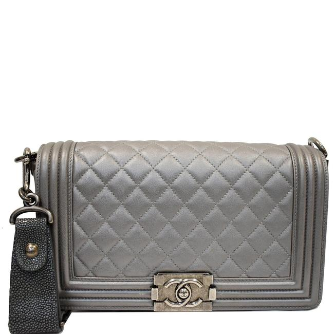 Item - Boy Flap with Stingray Silver Lambskin Leather Shoulder Bag