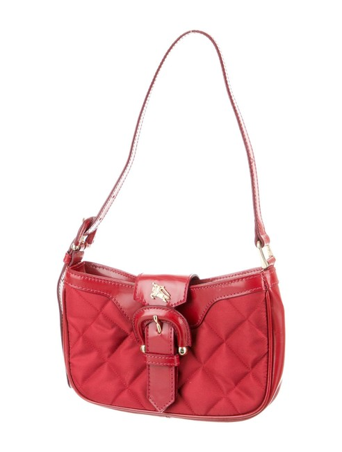 Item - Vintage Mini Brook Red Quilted Patent Nylon Hobo Bag