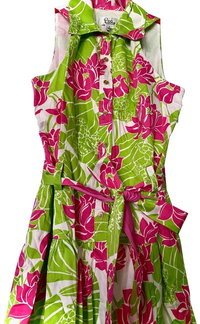 Item - Green Pink White Label Pad Frogs Shirtdress Mid-length Work/Office Dress Size 6 (S)