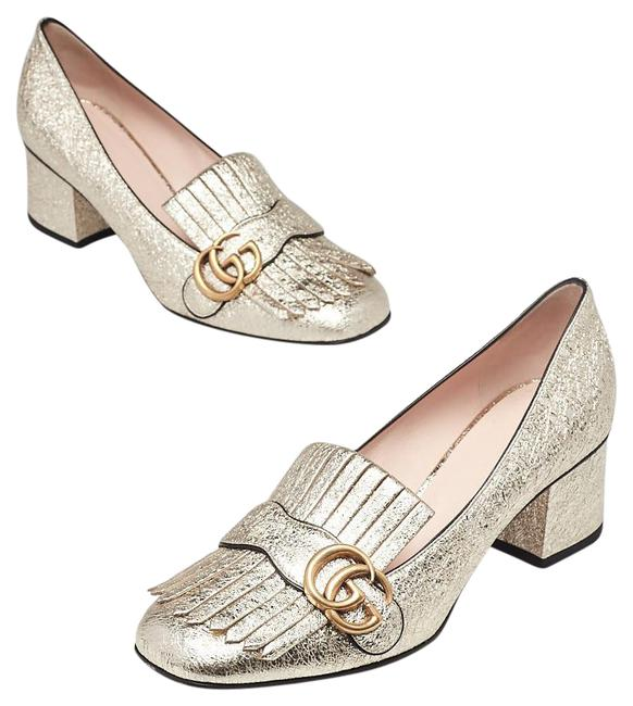 Item - Gold Marmont Textured Leather Mid Heel Loafers Pumps Size EU 39.5 (Approx. US 9.5) Wide (C, D)