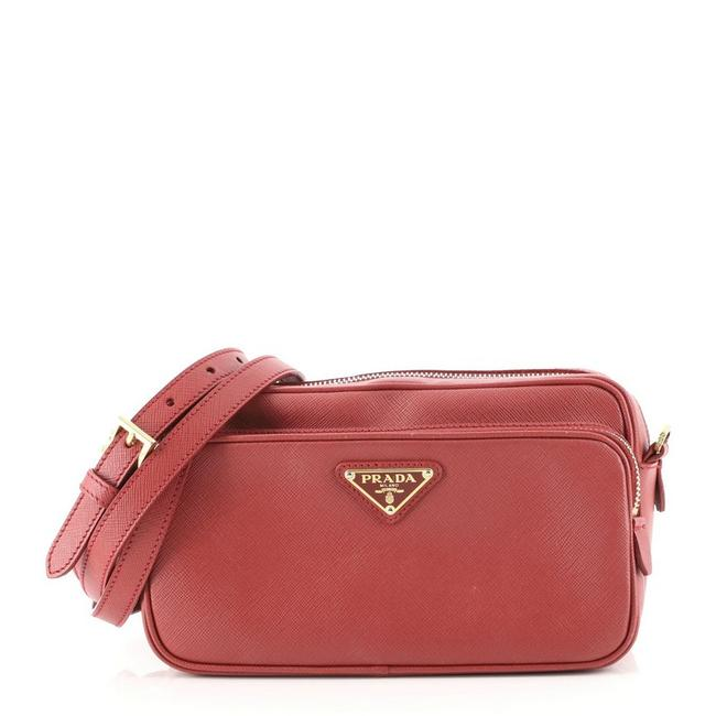 Item - Double Zip Saffiano Small Red Leather Cross Body Bag