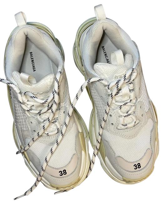 Item - White/Cream Triple S Logo-embroidered Leather Nubuck and Mesh Sneakers Size EU 38 (Approx. US 8) Regular (M, B)
