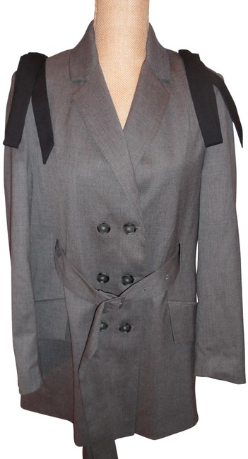 Item - Gray/Black Fabulous Wool Doible Breasted Wool Bows Blazer Size 6 (S)
