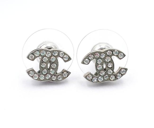 Item - Silver Classic Cc Crystal Small Piercing Earrings
