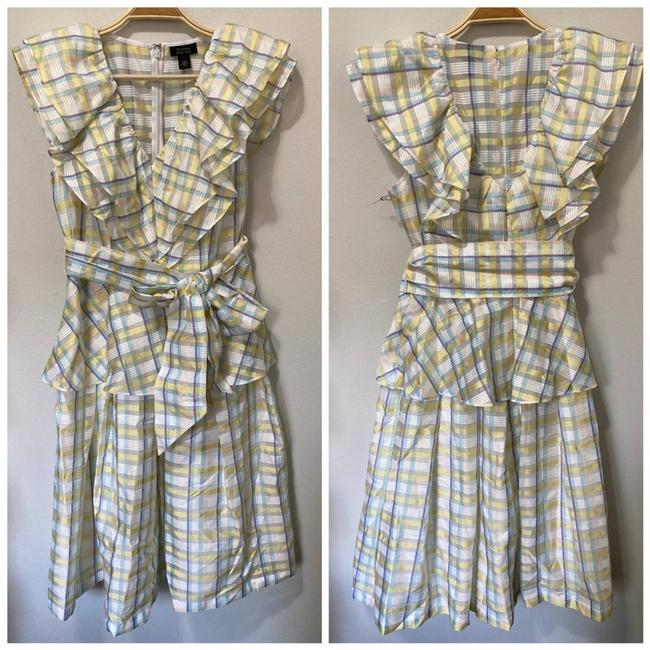 Item - Yellow New Atlantic-pacific Bow Front Plaid Ruffle Formal Dress Size 4 (S)
