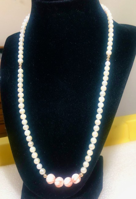 """Item - White/Gold Akoya Pearl 14k Beads Angel Skin Coral 20"""" New Necklace"""
