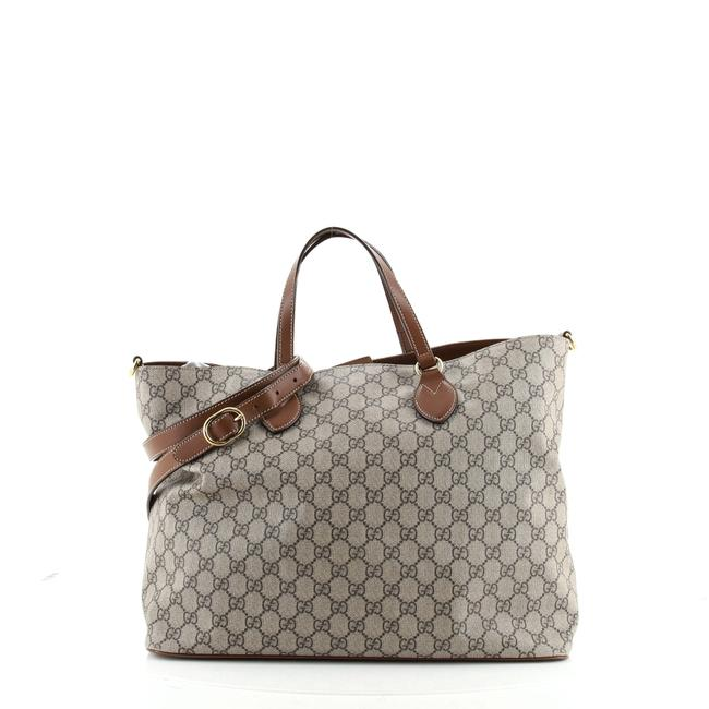 Item - Convertible Soft Gg Coated Medium Brown Canvas Tote