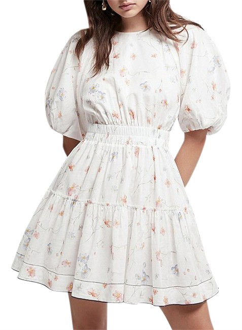 Item - White Armeria Bell Sleeve Floral Short Casual Dress Size 2 (XS)