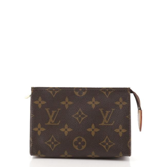 Item - Toiletry Pouch Monogram 15 Brown Canvas Clutch