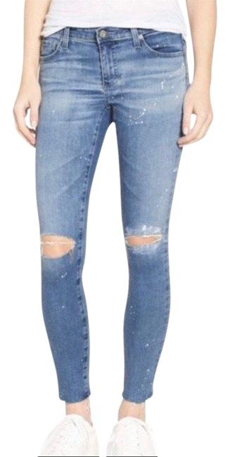 Item - Blue White Distressed Ankle Jegging Skinny Jeans Size 6 (S, 28)