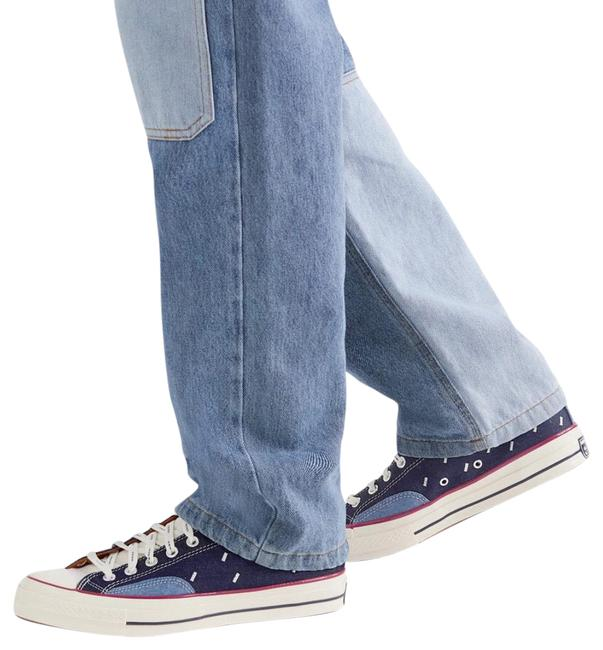 Item - Blue/Multi Embroidered Denim and Canvas Sneakers Size US 12 Regular (M, B)