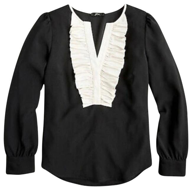 Item - Cream Long Sleeve Ruffle Front Satin Small Blouse Size 6 (S)