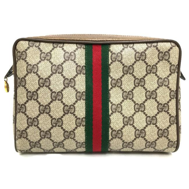 Item - Old Second Sherry Line Gg Plus 65 01 012 Beige / Brown Pvc / Leather Clutch