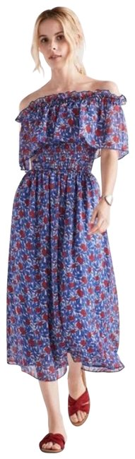 Item - Blue Floral Ruched Midi Casual Maxi Dress Size 0 (XS)