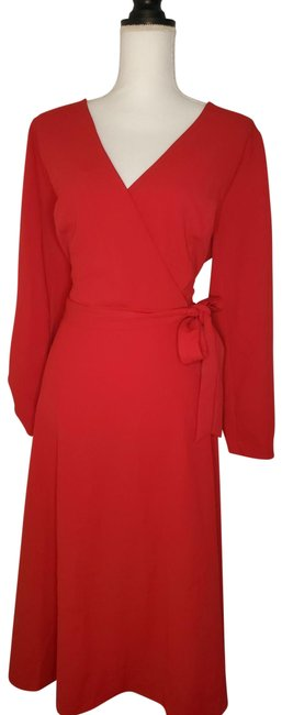 Item - Red Long Sleeve V-neck Belted Work/Office Dress Size 16 (XL, Plus 0x)