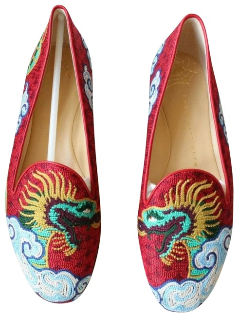Item - Red Embroidered Dragon Loafer Flats Size EU 35 (Approx. US 5) Regular (M, B)